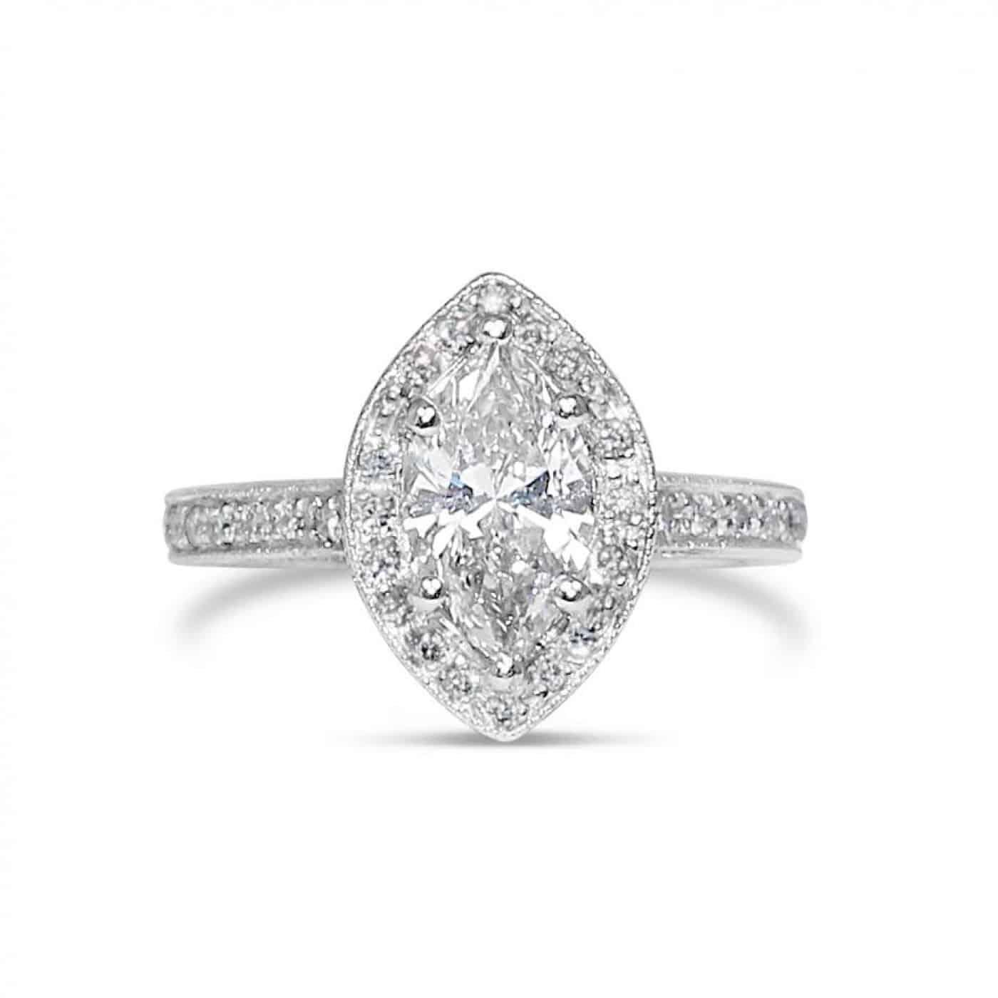 Platinum Diamond Marquise Halo Engagement Ring