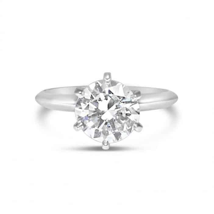Platinum Diamond Gia Round Solitaire Engagement Ring
