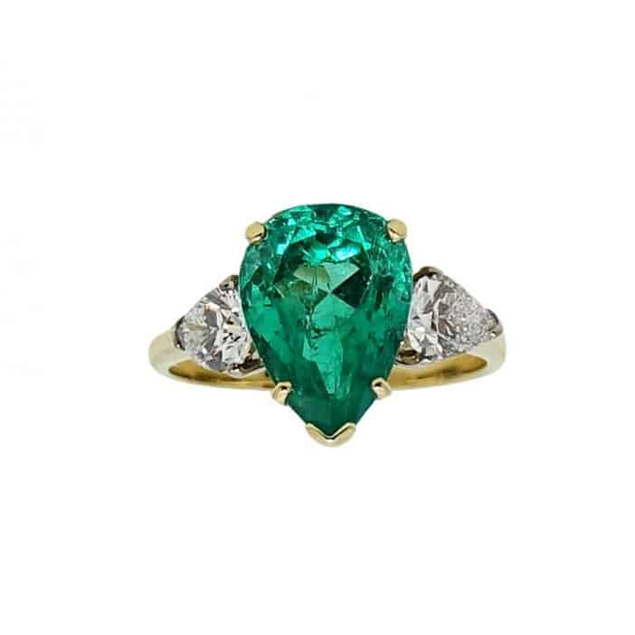Gold Pear Shaped Emerald Engagement Ring