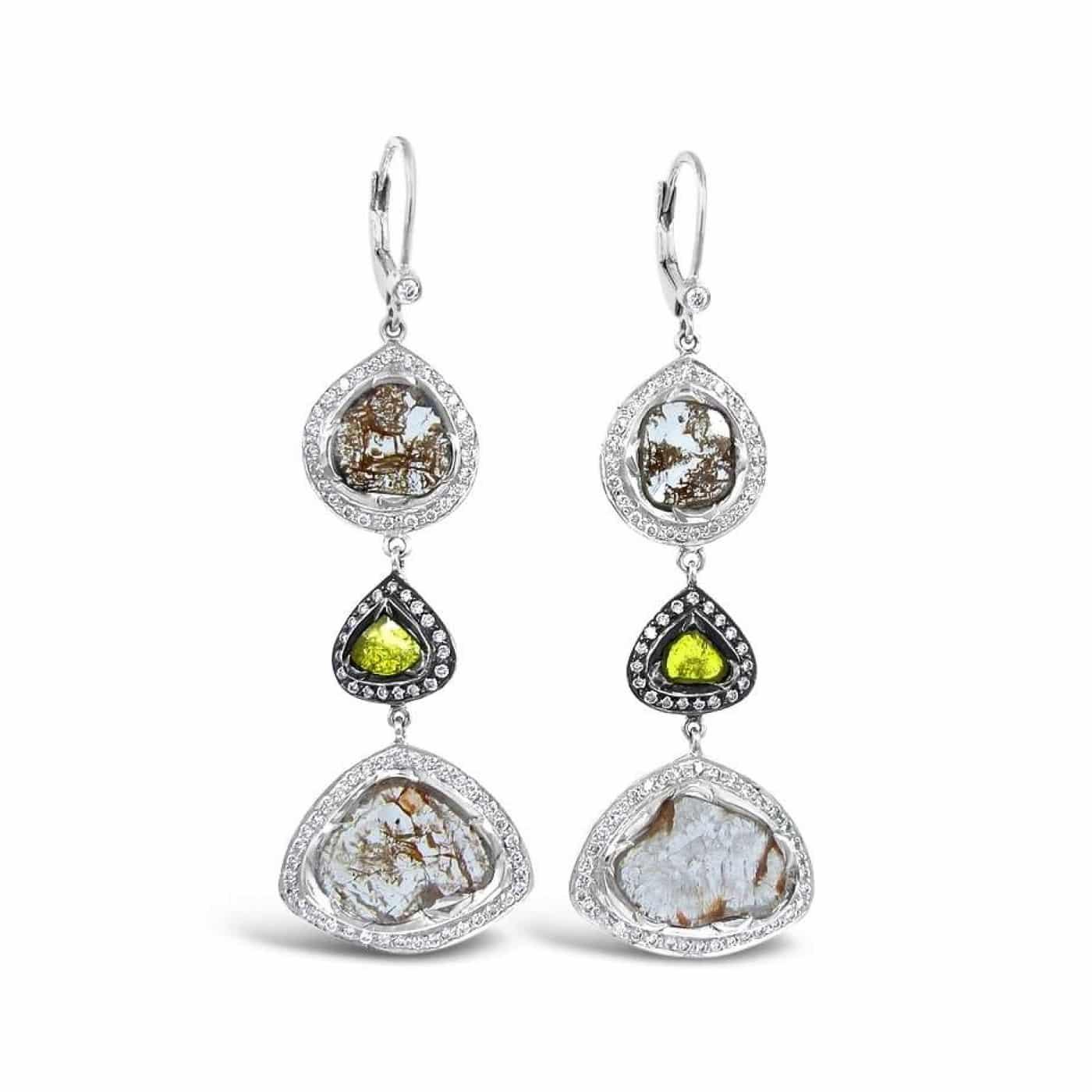 Alternative Stones - unique jewelry - diamond slice dangle earrings
