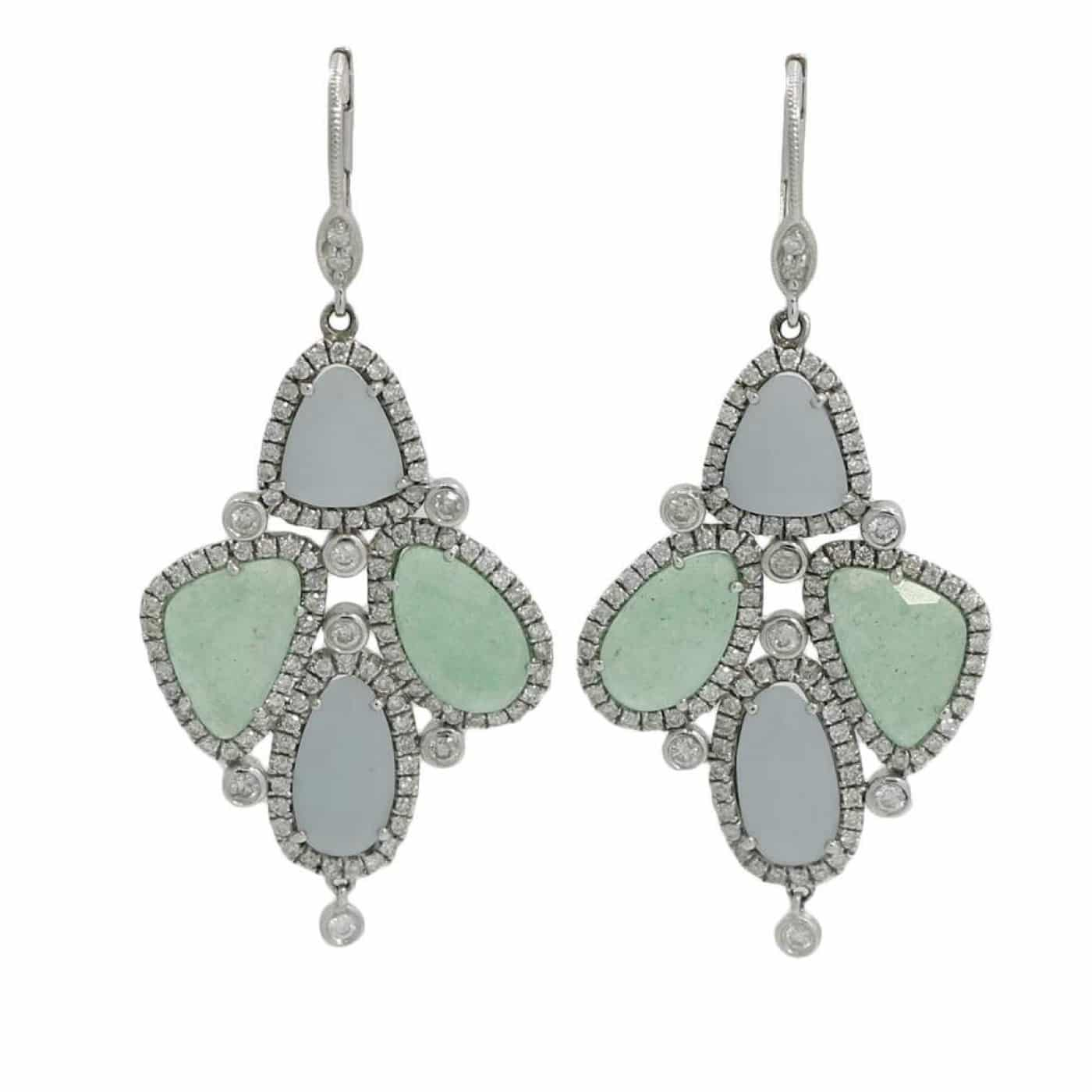 Alternative Stones - unique jewelry - DIAMOND AND CHALCEDONY dangle EARRINGS