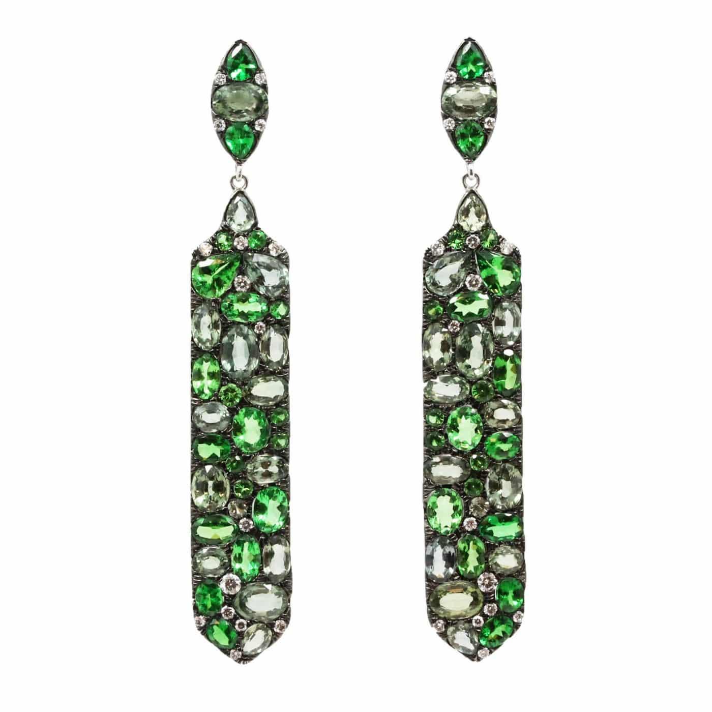 Fancy Green Sapphire Earrings