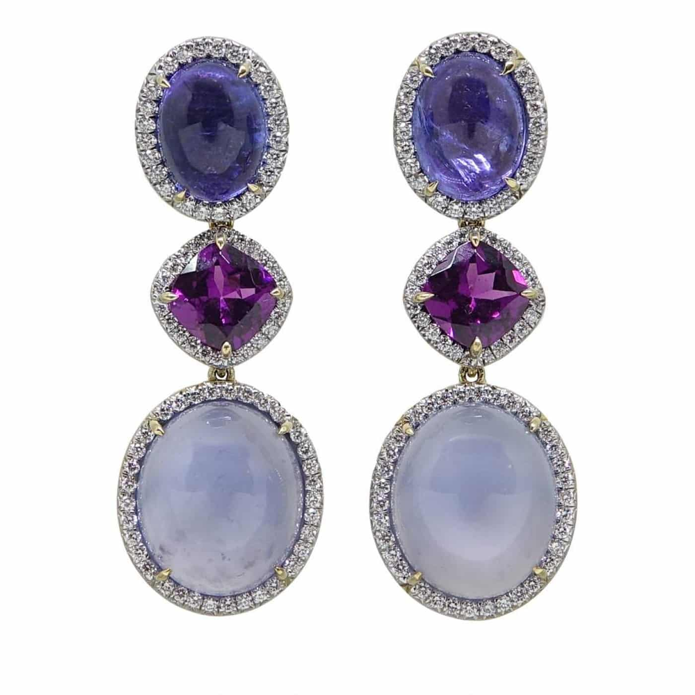 TANZANITE, PURPLE GARNETS AND LAVENDER CHALCEDONY AND DIAMOND EARRINGS