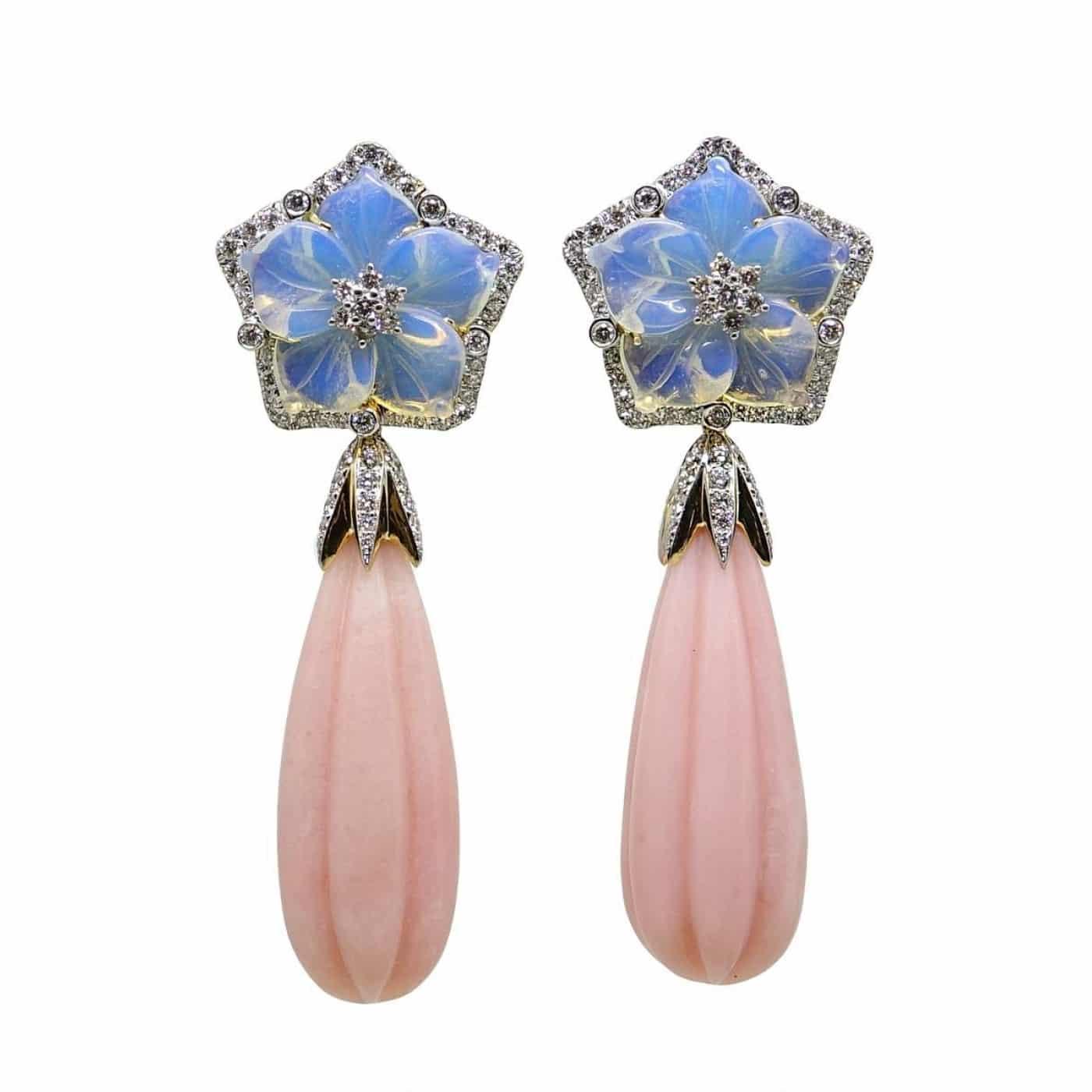 Alternative Stones - unique jewelry - CARVED OPAL FLOWER DESIGN dangle EARRINGS