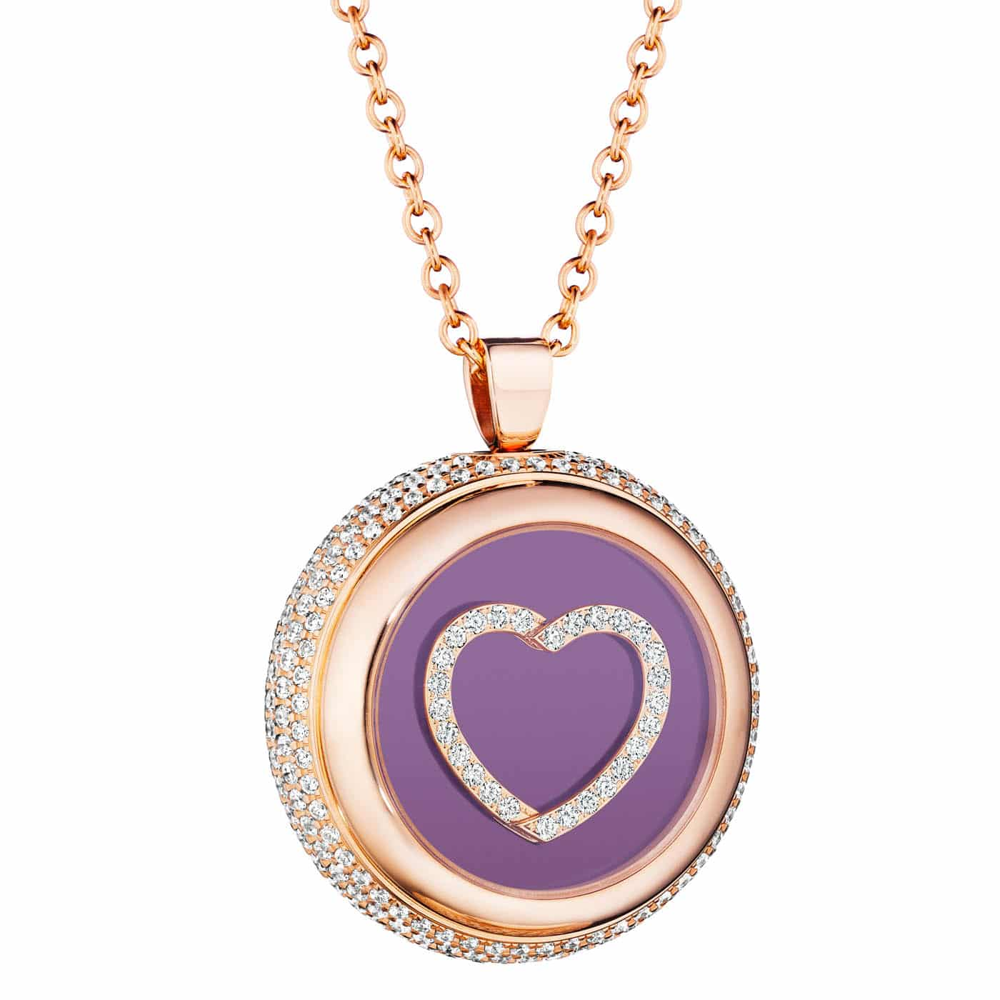 PAUL FORREST CO ROSE GOLD AMETHYST MEDALLION-SHAPED PENDANT WITH DIAMONDS