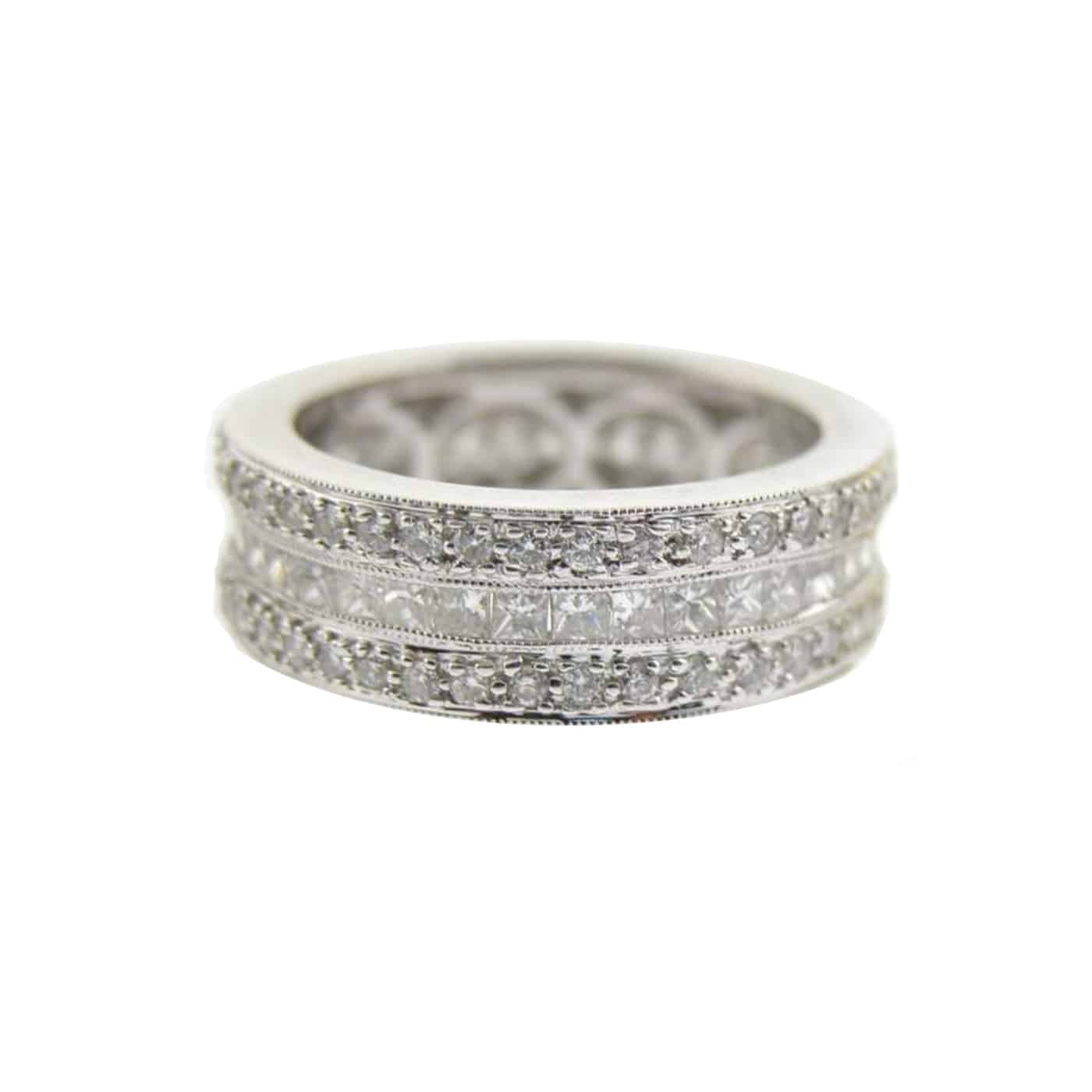 White Gold Round and Princess Cut Triple Row Eternity Women's Wedding Band