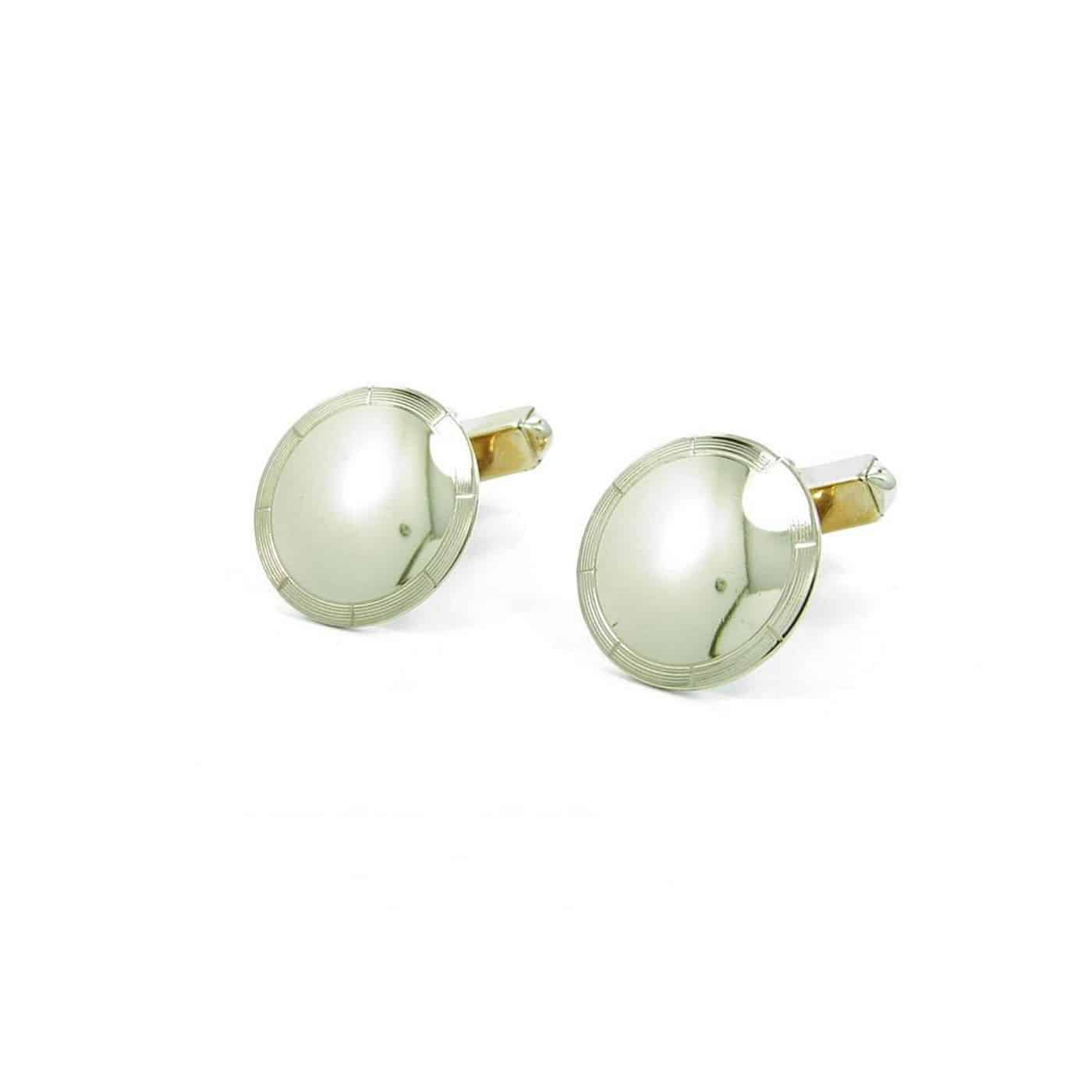 Yellow Gold Round Disc Cuff Links