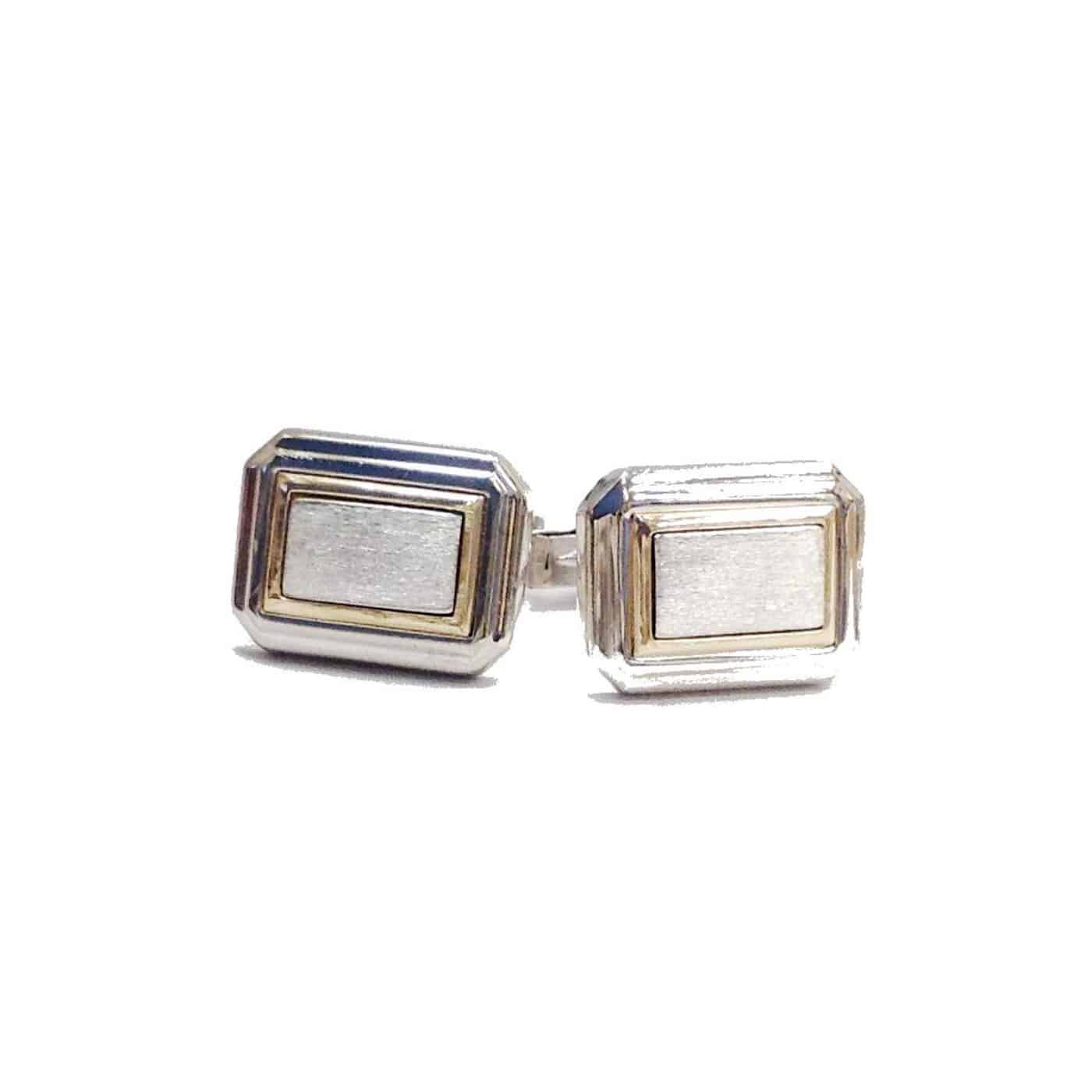 Sterling Silver and Gold Rectangle Cuff Links
