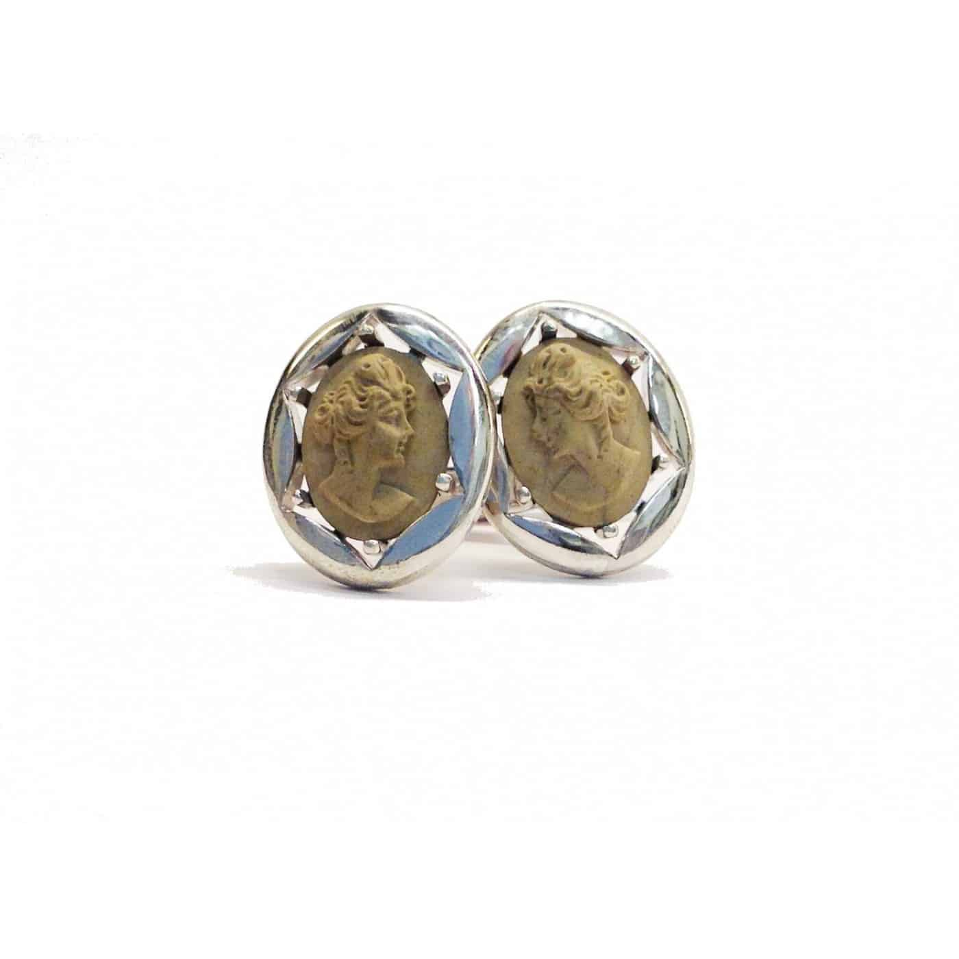 Sterling Silver Cameo Cuff Links