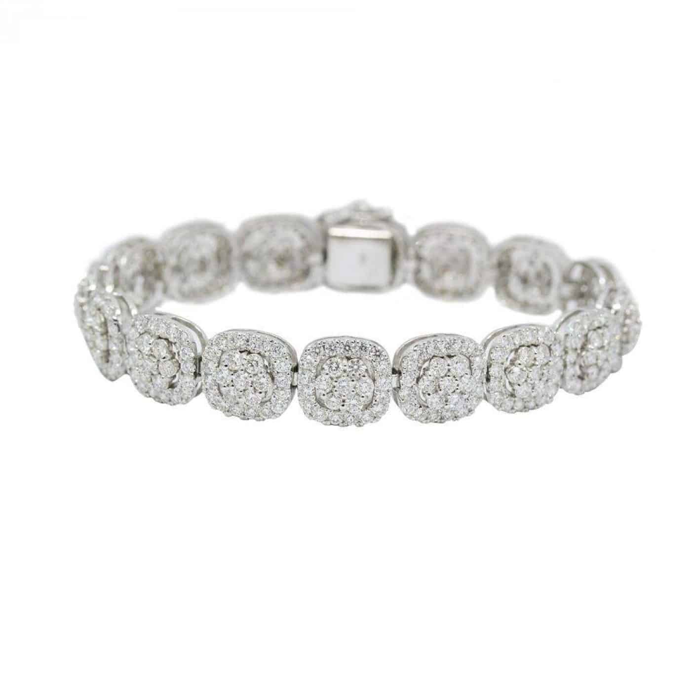 White Gold Cluster Diamond Bracelet