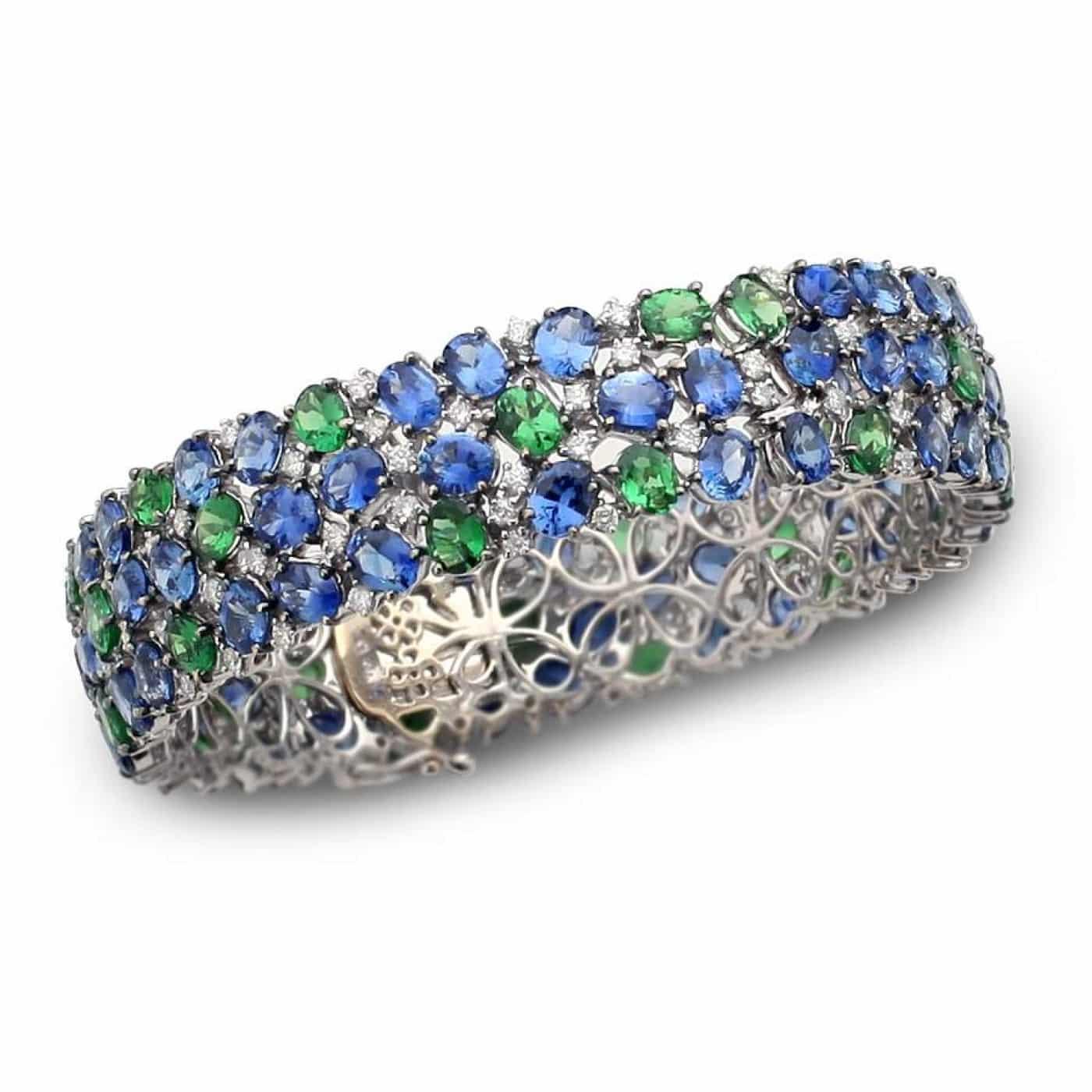 Tsavorite, Sapphire, & Diamond Bracelet