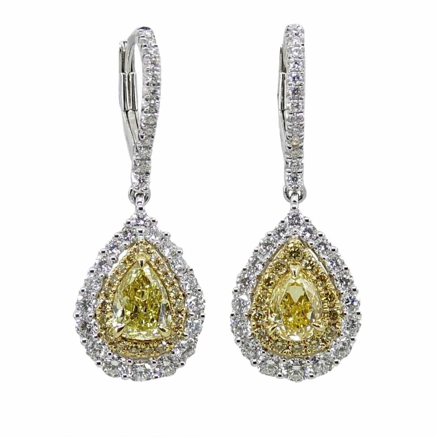 White Gold Earrings With Yellow and White Diamonds
