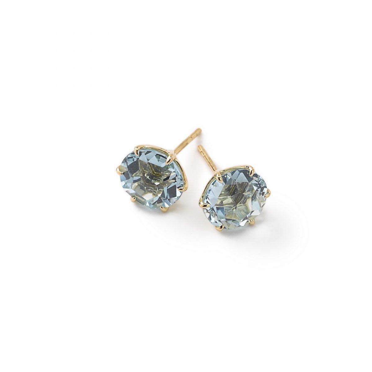 Ippolita Rocky Candy Gold Round Blue Topaz Stud Earrings