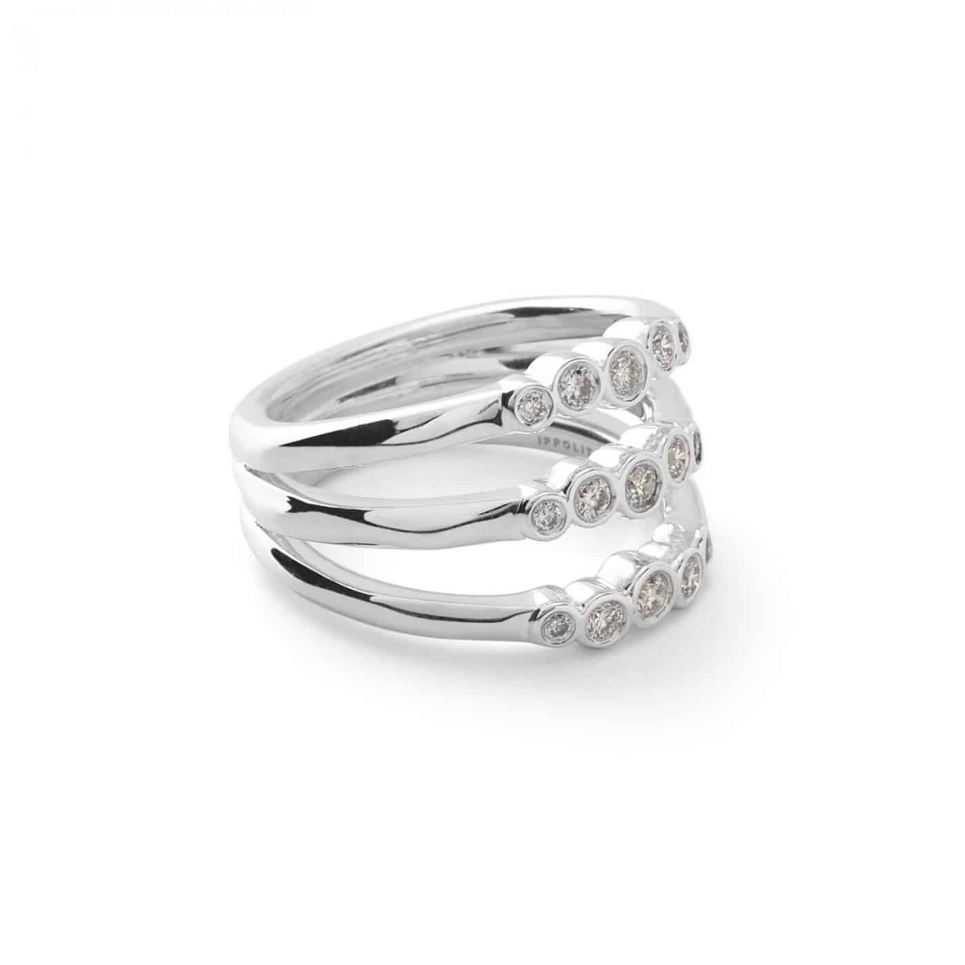Ippolita Glamazon Sterling Silver Stardust Triple Band Ring with Diamonds