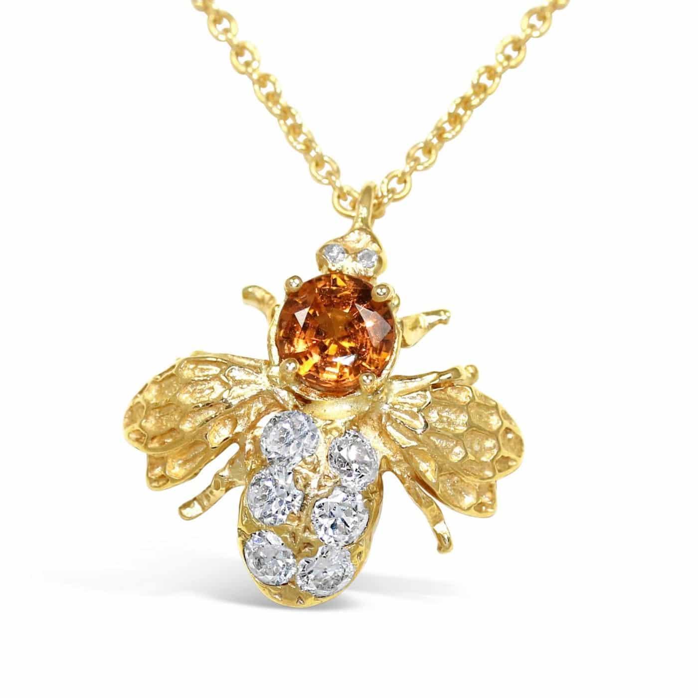 ORANGE SAPPHIRE DIAMOND BEE PENDANT