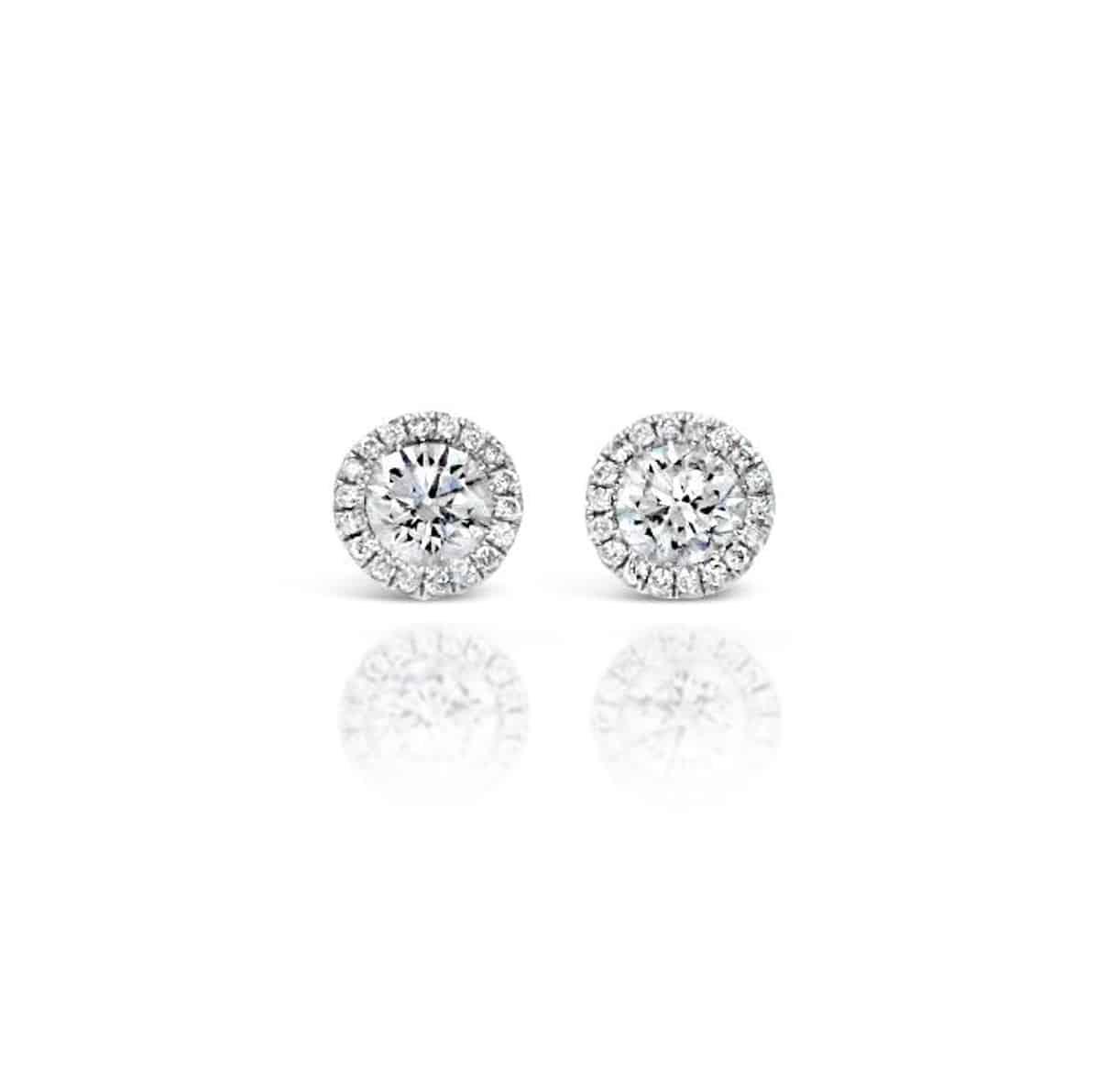 White Gold Diamond Stud Earrings with Diamond Halos