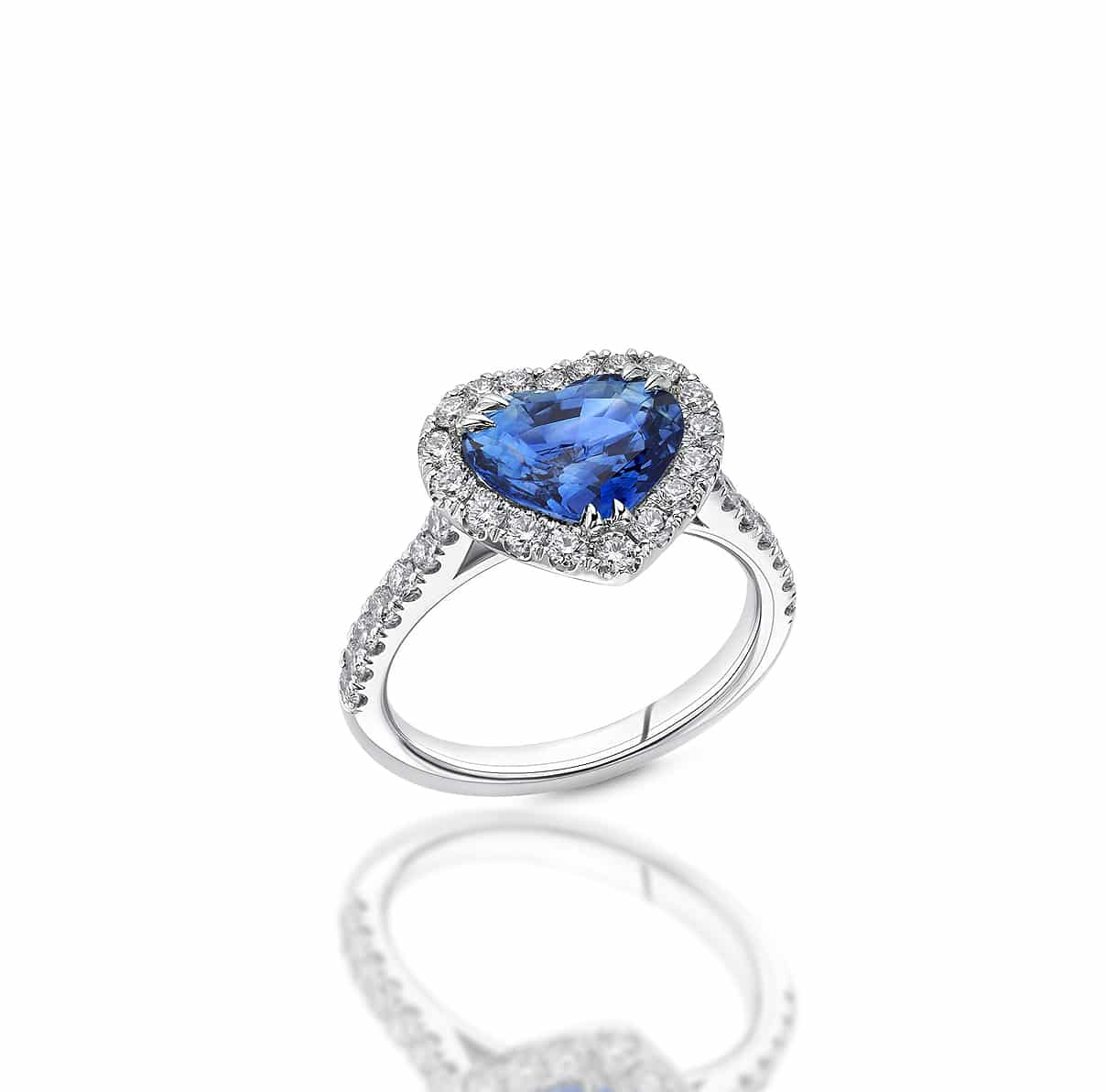HEART SAPPHIRE AND DIAMOND ENGAGEMENT RING
