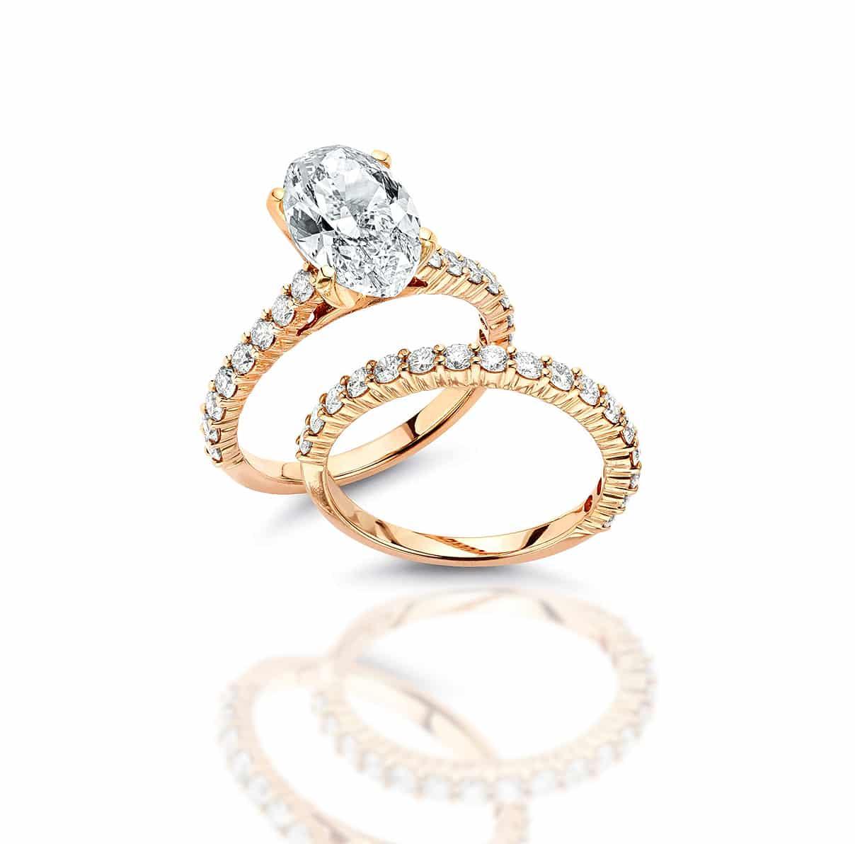18k rose gold engagement ring set